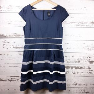 ANN TAYLOR Blue Classic Striped Cap Sleeve Dress
